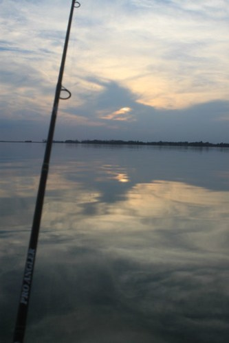 Beautiful sunset on a day of fishing.
