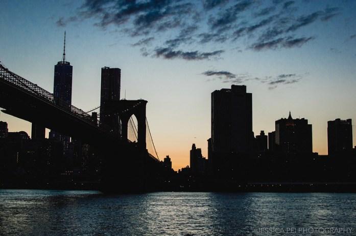 Setting Sun Manhattan City Silhouette from Brooklyn Bridge