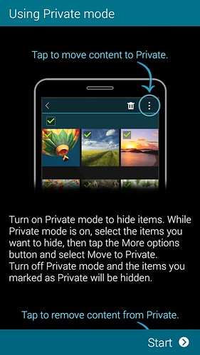 Private mode ของ Samsung Galaxy Mega 2