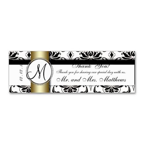 Black Damask Gold Wedding Favor Tag Business Card Template
