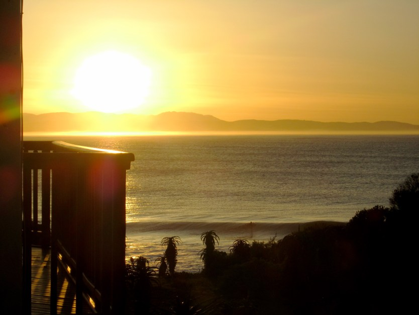 Sunrise from our room, Jeffreys Bay, ZA.