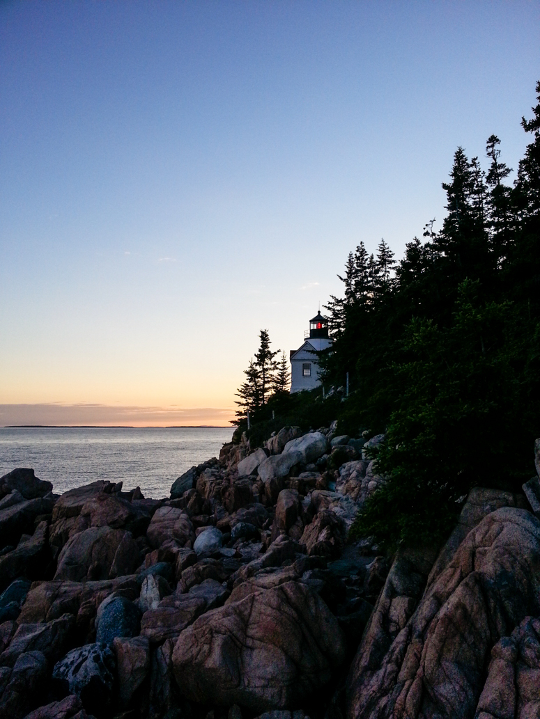 sunset, bass harbor head lighthouse