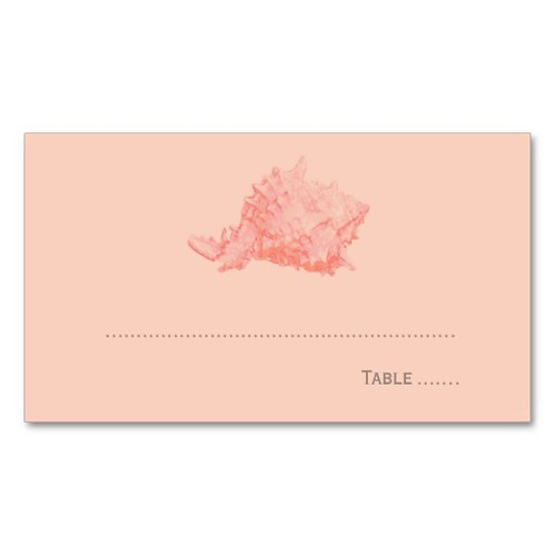 Wedding Escort Place Card | Coral Seashell Business Card Templates