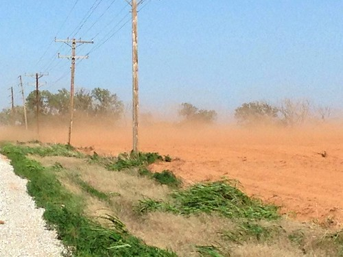 High winds in Kiowa Kansas have dust blowing from fields which were never seeded/ planted.