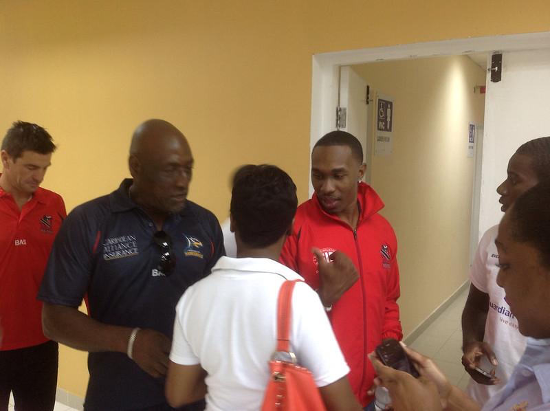 Sir Vivian Richards of Antigua Hawksbill and TT red Steel Captain Dwayne Bravo.
