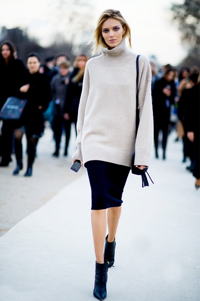 Beige oversized turtleneck sweater