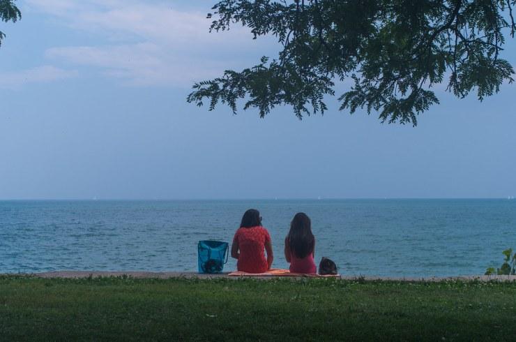 Sitting at Lake Michigan