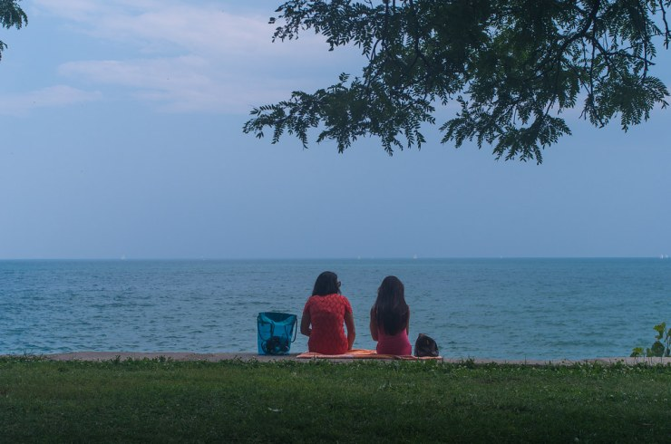 Sitting at Lake Michigan