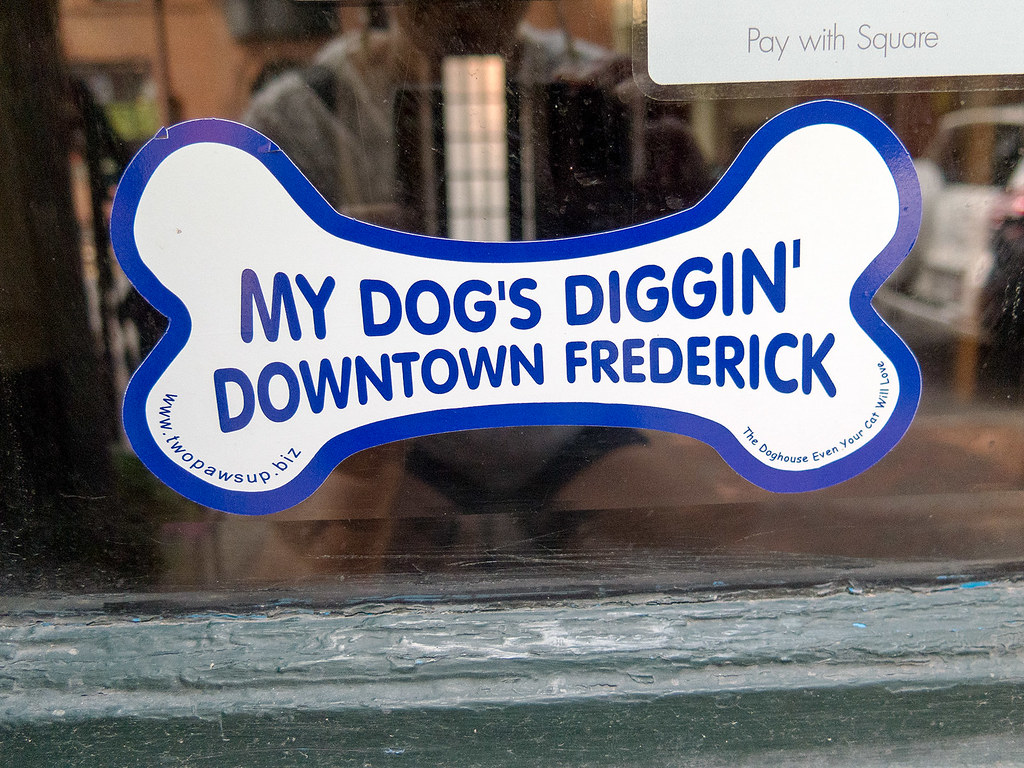 Dog friendly store indicator, Frederick, MD.