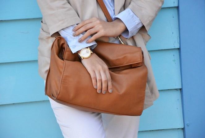 Leather Fold over clutch Zara, vintage leather tourbillon watch