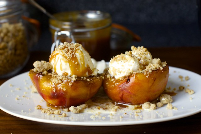 grilled peach splits