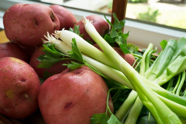Red potatoes and scallions