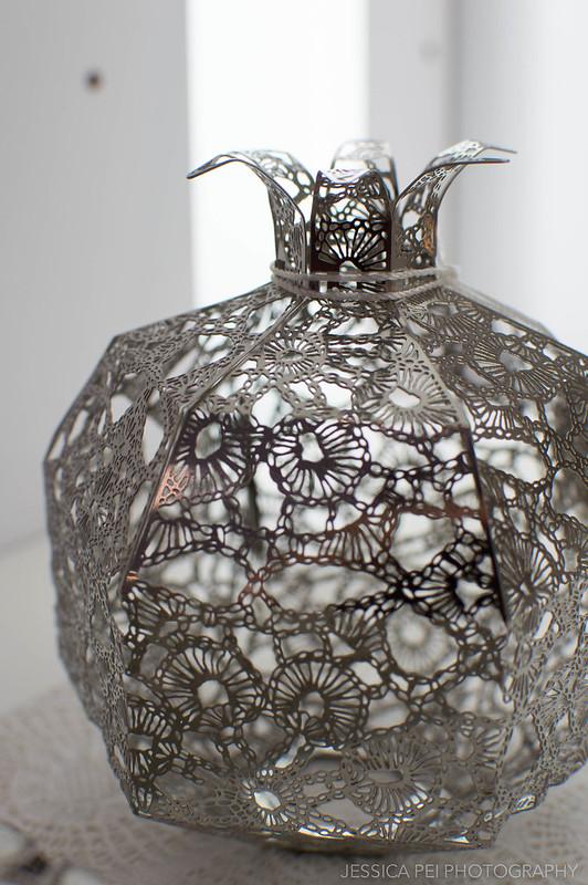 silver metal vase