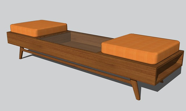 mid century modern coffee table bench