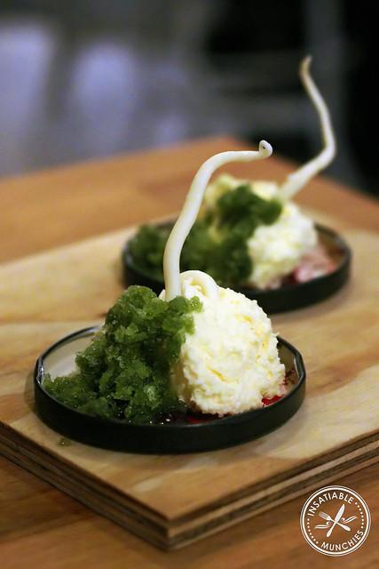 Kale Granita with White Chocolate Mousse