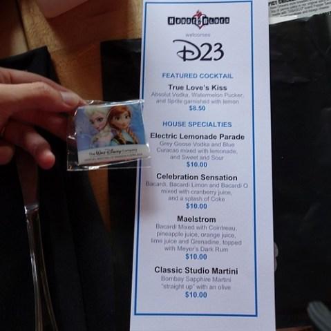 D23のミニイベントにやってきました。アナエルサの株主総会ピンをもらった。