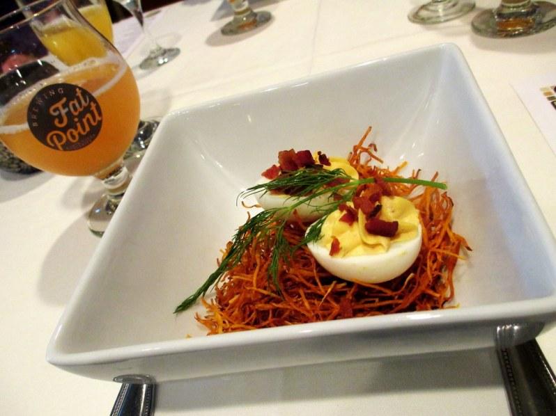Deviled Eggs, Crispy Pepper Bacon, Sweet Potato Nest served with a Lemon Mint Grapefruit Beermosa - Fat Point Brewing Beer Brunch at Opus Restaurant, Punta Gorda, Fla., June 29, 2014