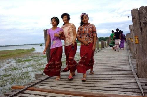 Locals on U-Bein bridge, Myanmar