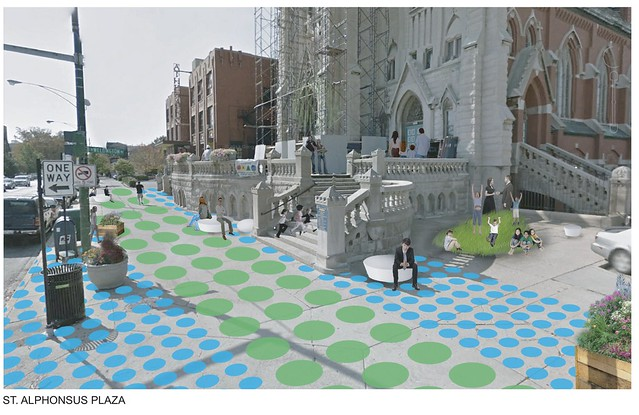Play area on West Lakeview SSA #27 Lincoln Avenue placemaking project