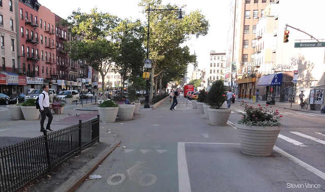 Bicycling on Forsyth Street in New York City