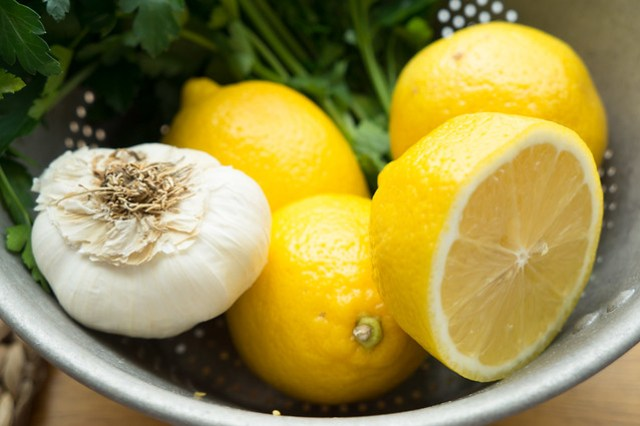 lemons, garlic, parsley