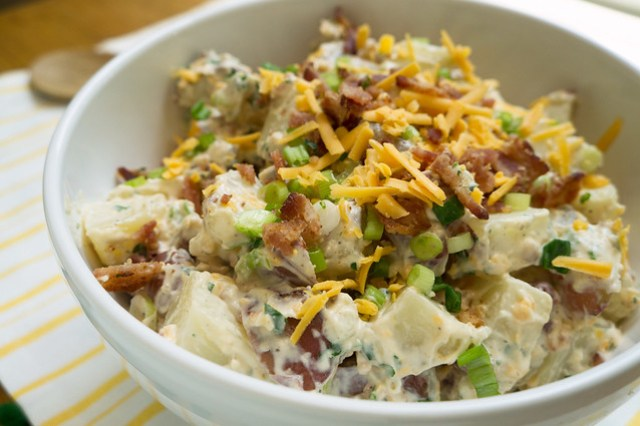 Bacon Cheddar Potato Salad in bowl