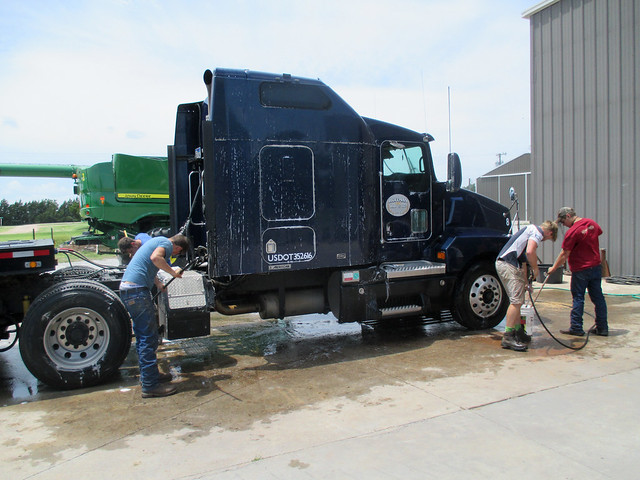 The guys clean one of our trucks
