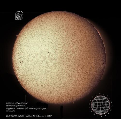 H-alpha full disk image of the Sun – 2014.08.18. - Bognár Tamás, Nagykanizsa