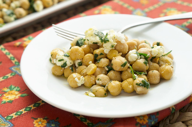 chickpea and feta salad on plate
