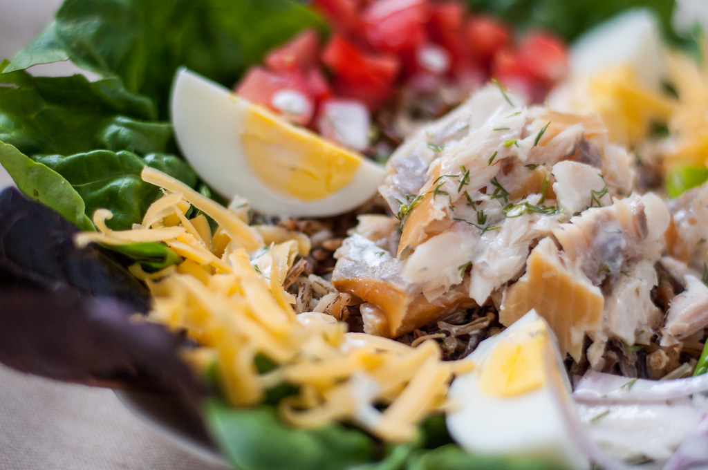 Minnesota smoked trout cobb salad with lemon dill buttermilk dressing