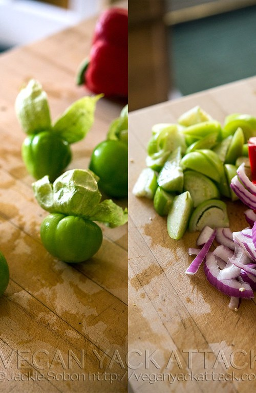 Tomatillos with Red Onion and Bell Pepper