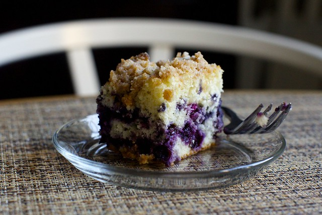 blueberry crumb cake with extra blueberries