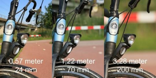 Het onderwerp even groot op de foto, maar bij verschillende brandpunten c.q. afstanden. Het diafragma is ongewijzigd.