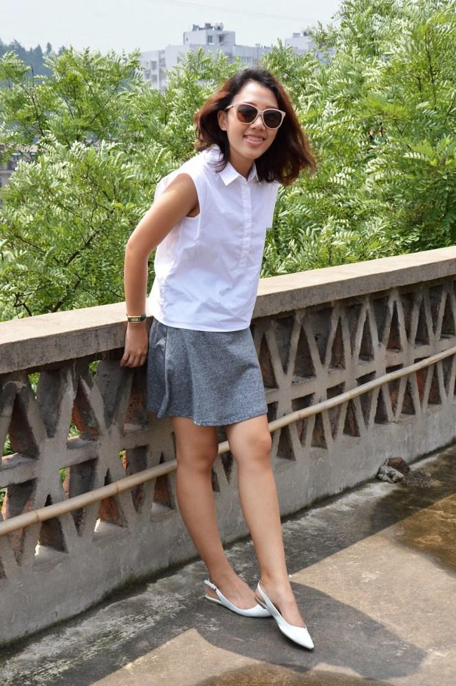 Mango shirt collar white blouse, gray skater skirt, white pointed toe flats