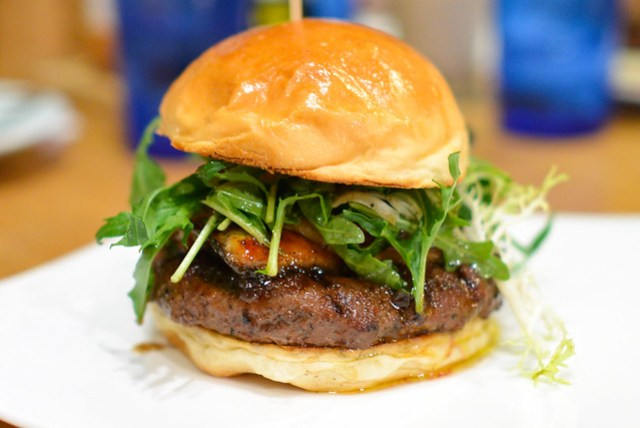 Shogun Burger Wagyu Beef & Unagi, Pan Seared Foie Gras, Poached Asian Pear, Miso Butter, Yamamomo Peach