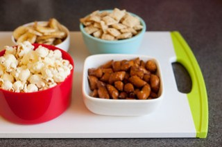 popcorn, banana chips and nuts