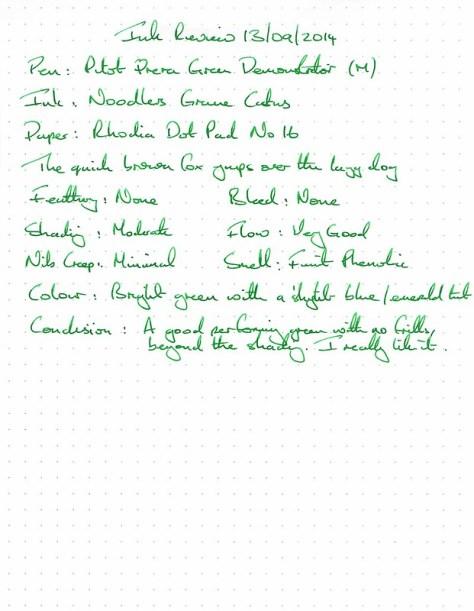 Noodler's Gruene Cactus - Rhodia - Ink Review