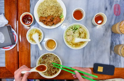 Noodles, wontons.