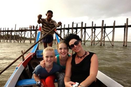 Family near U-Bein bridge Myanmar, 2014