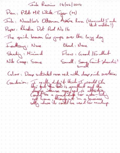 Noodler's Ottoman Rose - Rhodia Dot Pad - Ink Review