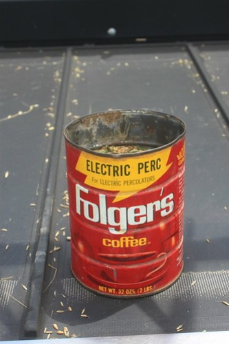 Our vintage coffee can to take samples to the elevator with. Sad that they don't make tin coffee cans anymore.