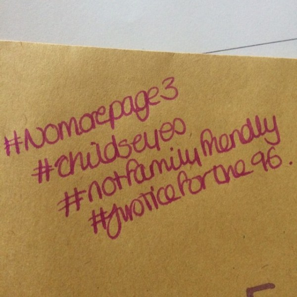 Added to the outside of the envelope. #nomorepage3 #notfamilyfriendly #justiceforthe96 #jft96