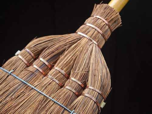 Traditional Japanese Broom Made of Fern and Bamboo