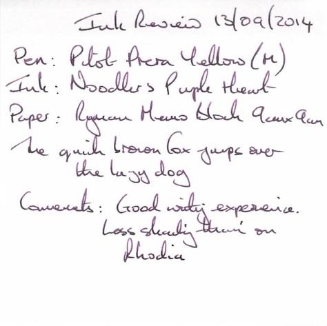 Noodler's Purple Heart - Ryman Memo - Ink Review