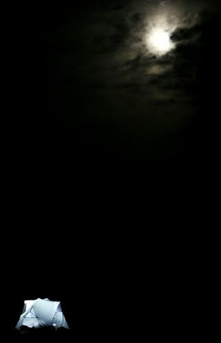 Moonlit tent on the beach