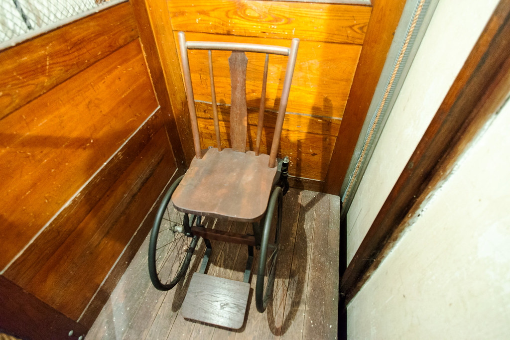 One of FDR's wheelchairs in a hand pulley operated elevator.