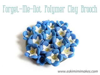 Polymer Clay Forget-Me-Not Brooch Tutorial