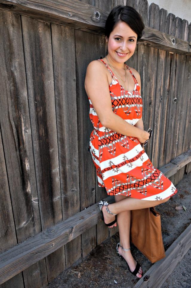 mixing aztec print dress and animal print shoes