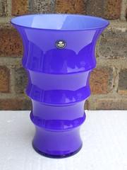 Royal Copenhagen Blue Cased Crystal Art Glass Vase Danish Mid Century Modern Design