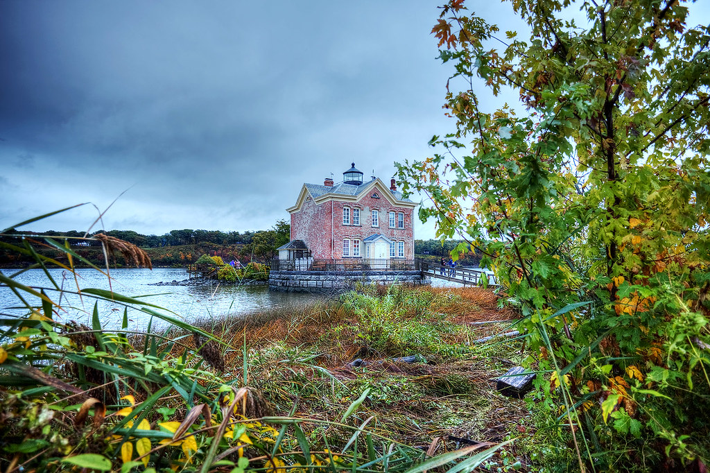 Saugerties Lighthouse peeking out from the wetlands in the Esopus Estuary.
